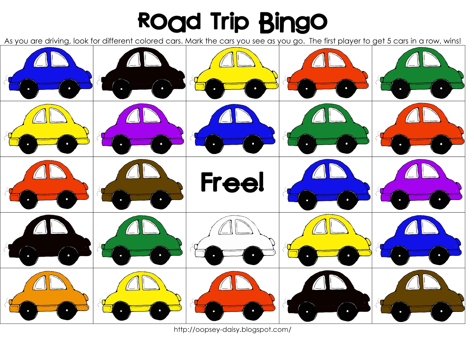 This is a graphic of Witty Car Bingo Game