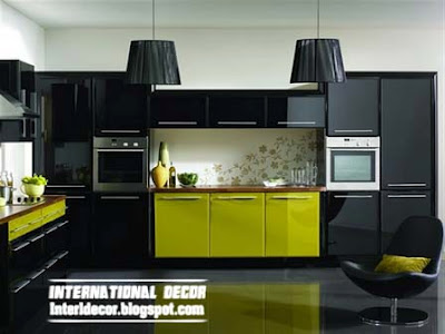 Modern black kitchen designs ideas furniture cabinets 2015 Modern green kitchen ideas