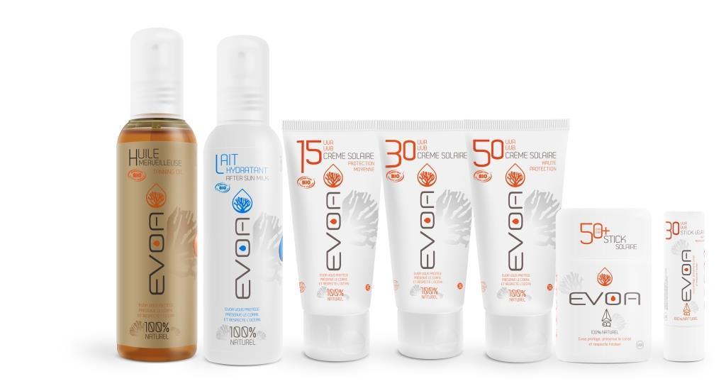 La gamme solaire bio Evoa: huile sèche, lait hydratant, crèmes solaires, stick solaire et baume à lèvres. produits 100% naturels, sans parabène, sans conservateur, sans nanoparticule et sans PEG.