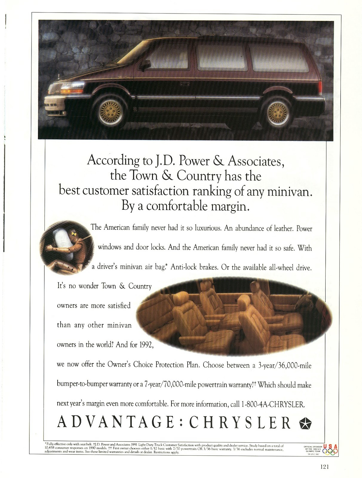 1991 CHRYSLER VAN Magazine Ad TOWN and COUNTRY