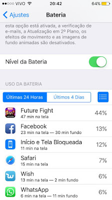 Uso destalhado da bateria - iOS 9