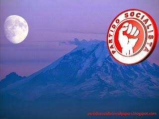 Fundo de tela do Partido Socialista. Logotipo do PS em fundo Montanha Azul sob a Lua Ascendente