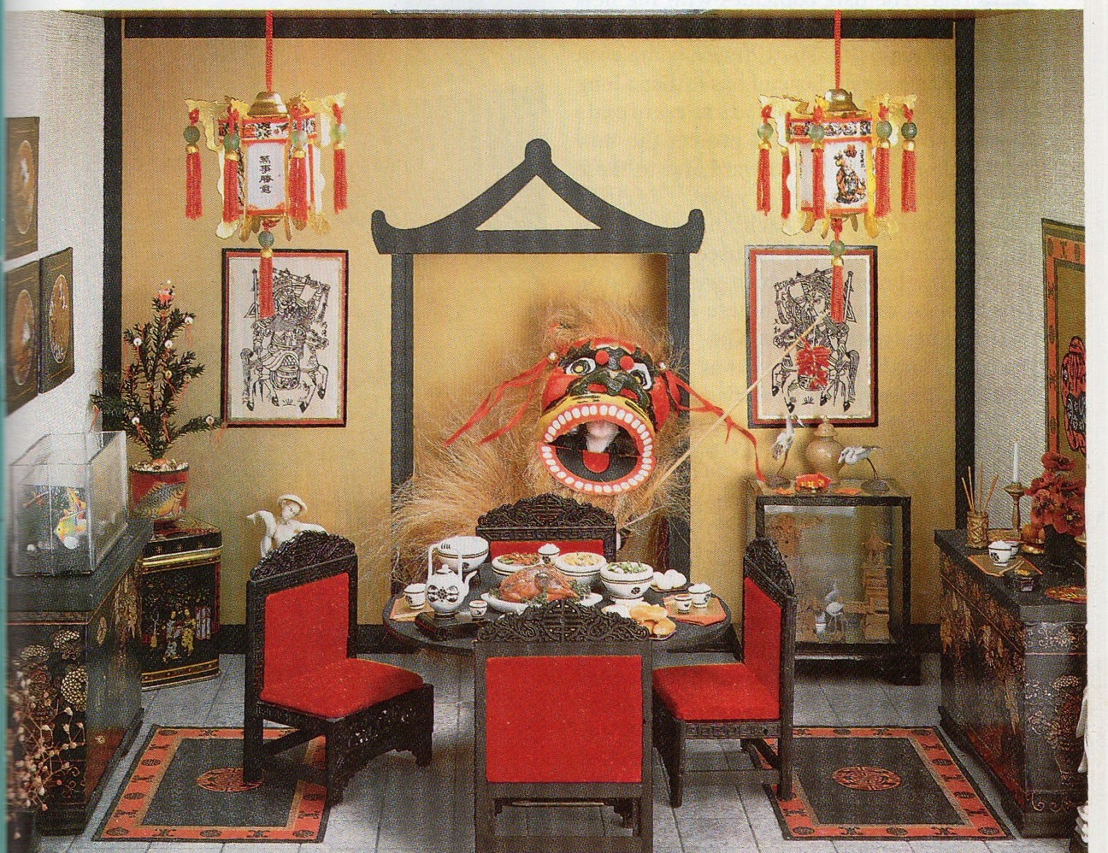 Dyi dollhouse miniatures celebrating chinese new year for Chinese home decorations