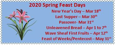 2020 Upcoming Feast Days