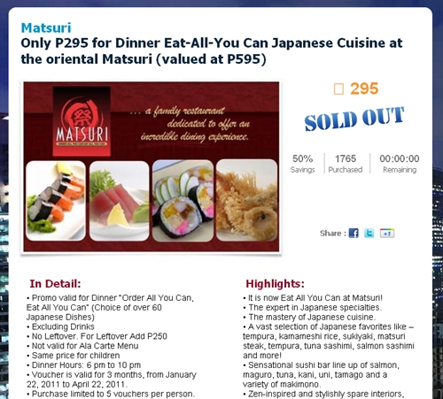 Ensogo's promo for Matsuri's eat-all-you-can dinner