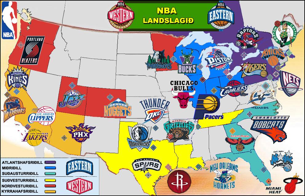 Us Map Nba Teams - Nba teams map