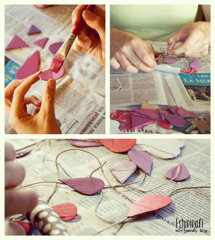 Proceso para hacer el móvil de cartón: recortar, pintar y pegar al cordel