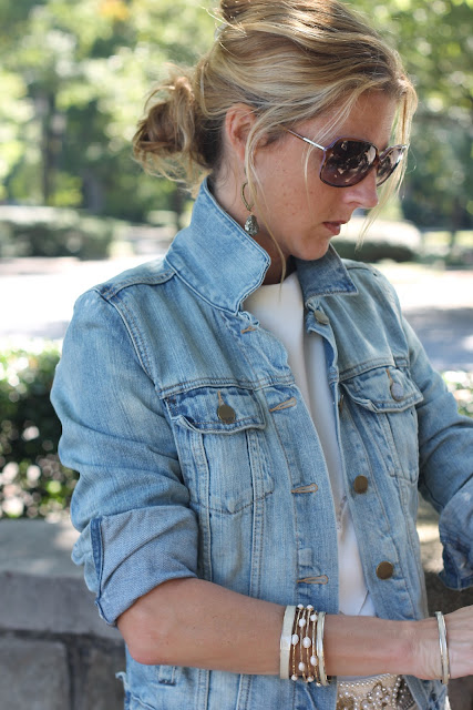 Grandmother's Dress, Gap 1969 Favorite Denim Jacket, Blinde Sunglasses, Liora Manne Clutch, Melinda Maria Cocktail Ring, Luv Aj Earrings, Ann Roth Soes, Zara Belt