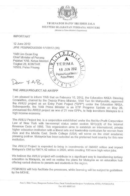 Surat Rasmi Kepada Ketua Menteri Sarawak Hellowinv