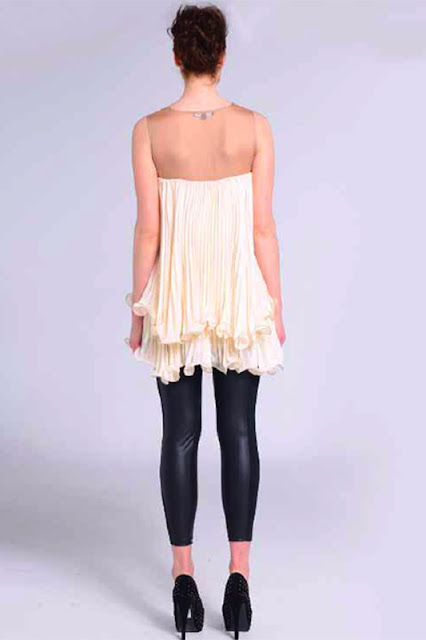 Naomi Tsukishima Cream Floaty Ruffle Party Dress Back