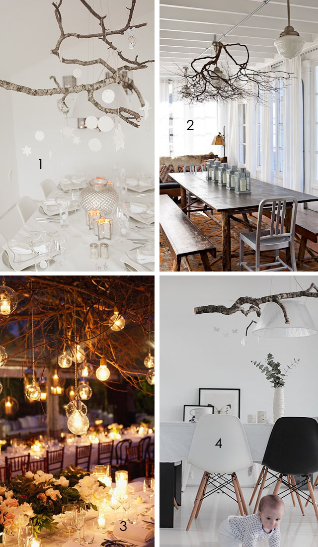 decorating with branches, lighting fixtures
