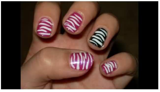 Todo sobre manos y pies lindos dise os de u as tipo zebra Disenos de todo tipo