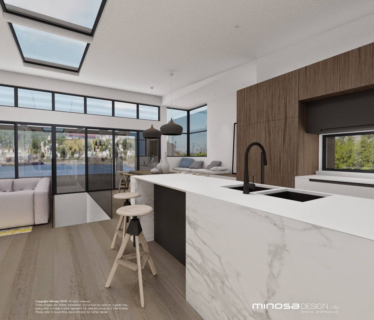 Minosa: The Modernliving room - Centred around the kitchen