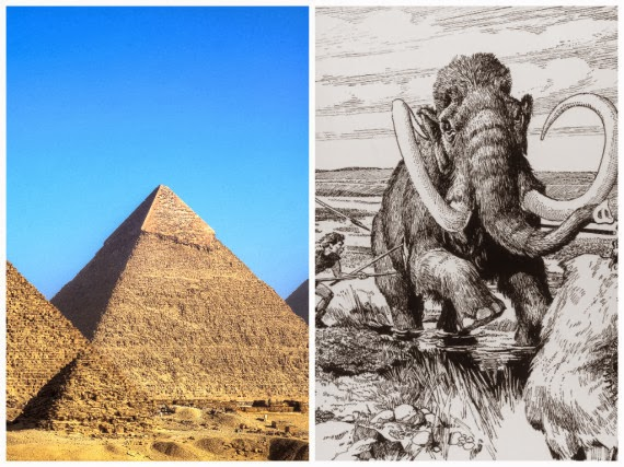 The Pyramids of Giza were built in the time of wooly mammoths