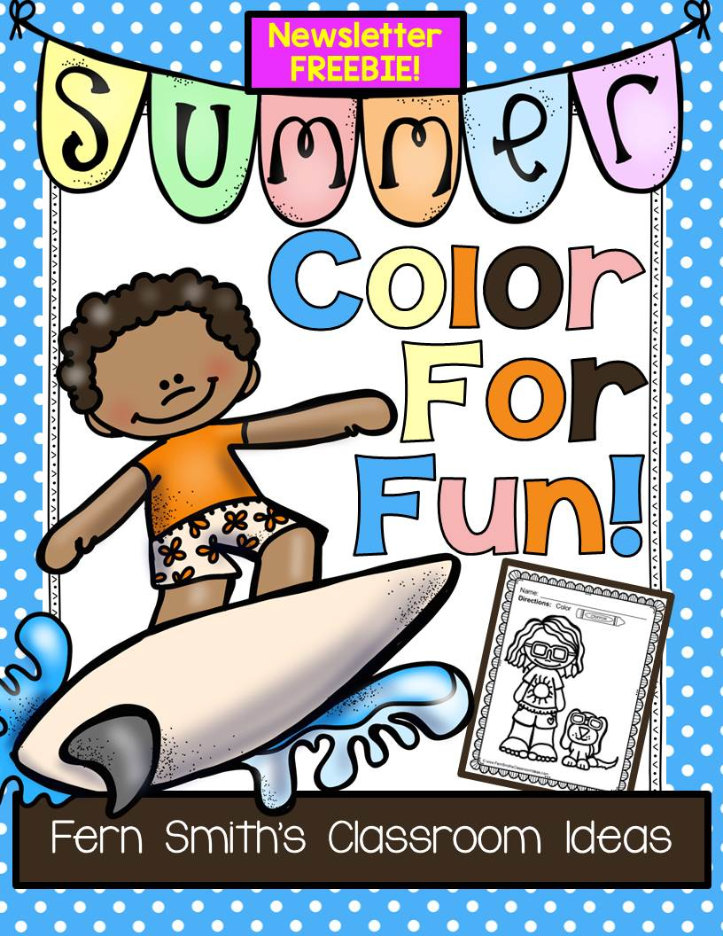 Fern Smith's Classroom Ideas Summer Color For Fun! Color For Fun Printable Coloring Pages