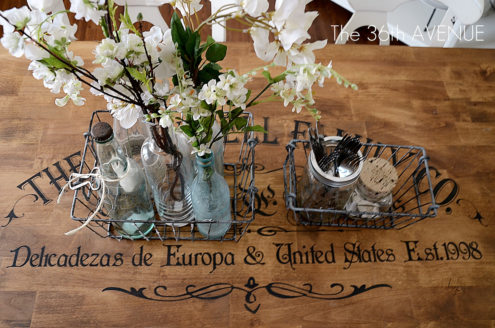 Sticker time extraordinary furniture makeovers the 36th for Stenciled dining room table