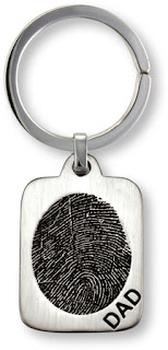 Memorial Key Fob in Sterling Silver with Fingerprint on Front of Rectangle