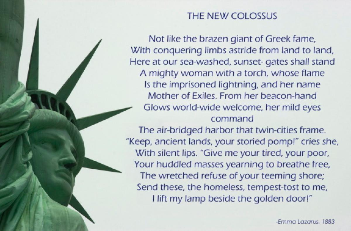the new colossus by emma lazarus Manuscript of the new colossus by emma lazarus museum of the city of new york, gift of george s hellman, 36319 on view in the museum of the city of new york's landmark exhibition new york at its core is a small manuscript in black ink the script is messy and the signature is hard to.