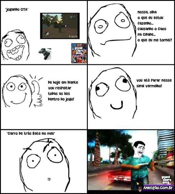 Tirinha - Jogando GTA civilizadamente...