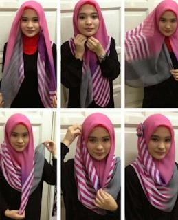 Tutorial Hijab Segi Empat Simple untuk Lebaran