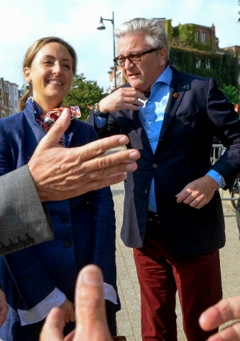 "Belgian's Prince Laurent and Princess Claire attends the inauguration of the 100th renovated housing of ""Renovassistance"" in Anderlecht, Brussels, 30.09.2014"