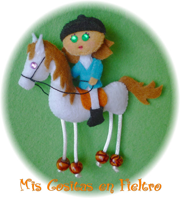 caballo de fieltro, jinete, amazona