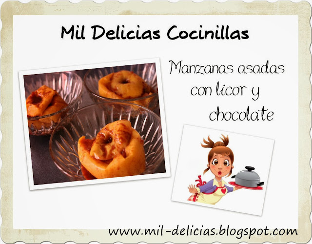 Manzanas asadas con licor y chocolate