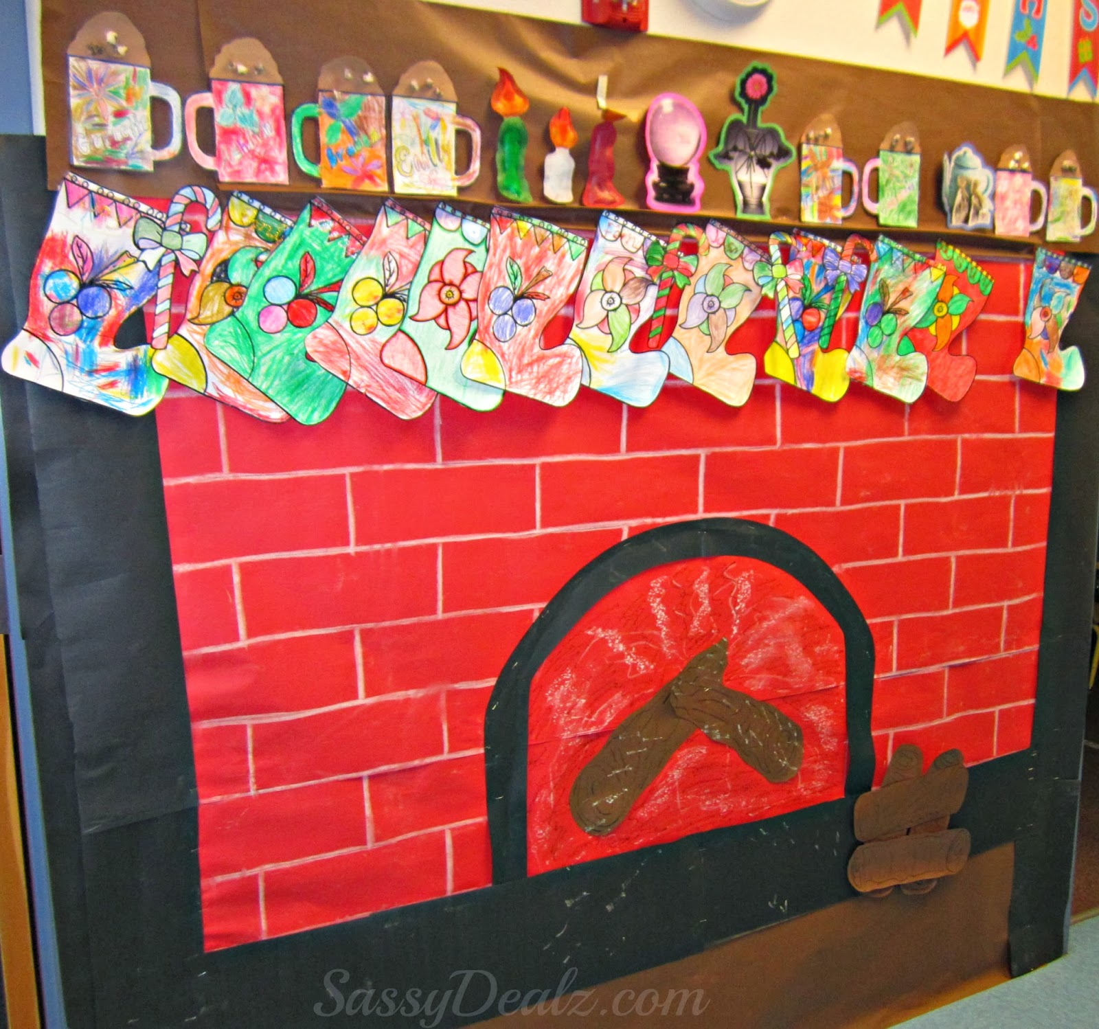 fireplace christmas bulletin board