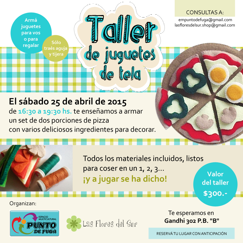 Taller de juguetes de tela en Buenos Aires, sábado 25 de abril de 2015