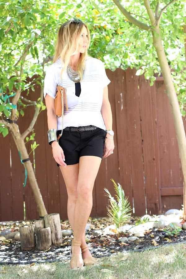 casual shorts with linen top
