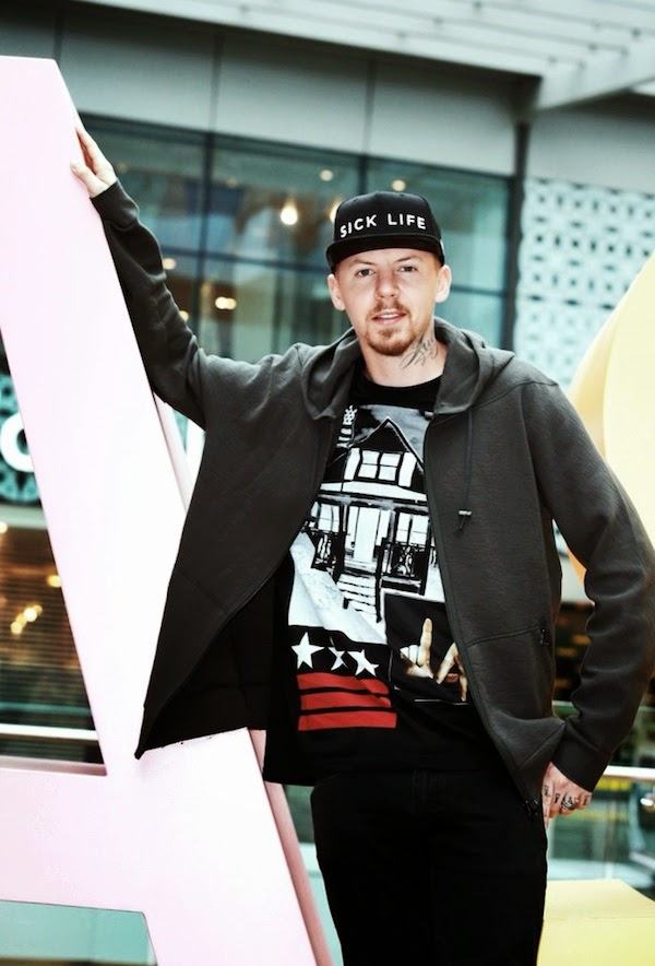 Professor Green wears Givenchy LA House t-shirt at Westfield We are LDN Summer at Westfield Stratford City August 2014
