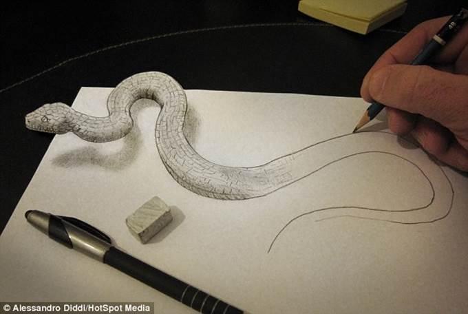 lukisan 3d ular menyusur keluar kertas