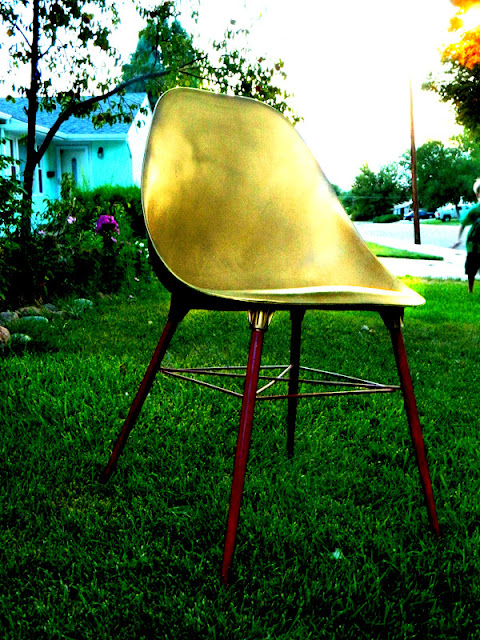 DIY gold eames shell chair painted Just Peachy, Darling