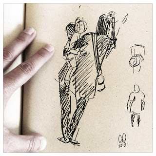 Sketch of a woman holding a baby in pen and marker - drawing by Cesare Asaro