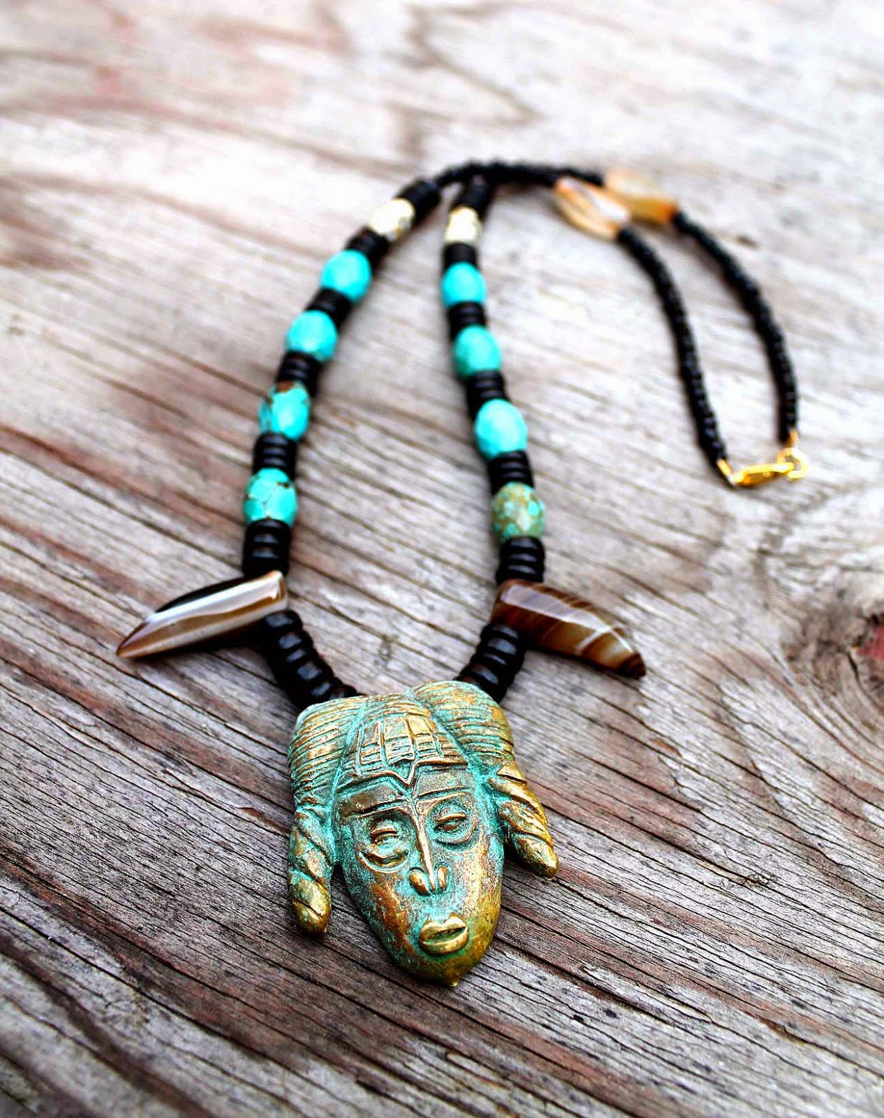 mens african brass mask pendant necklace