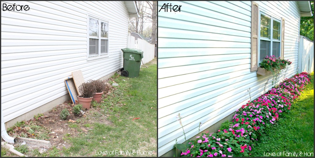 Curb appeal evolution of the side yard love of family for Back garden designs before and after