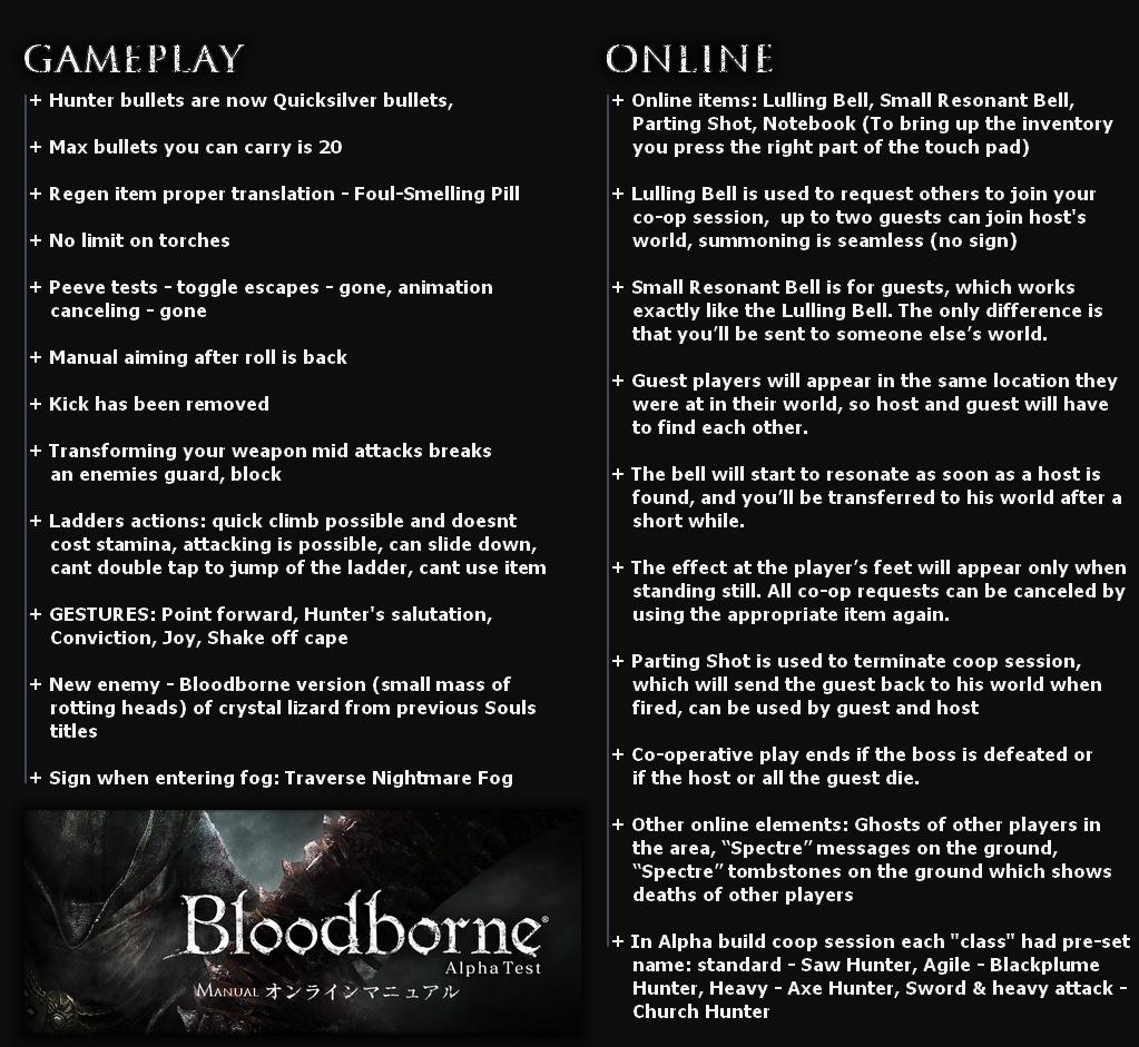 Bloodborne Alpha Summary