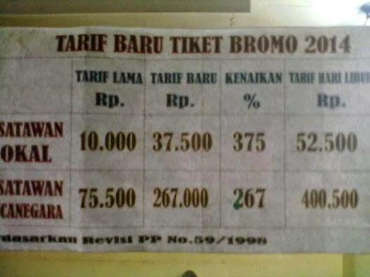 Harga Tiket Masuk Bromo 2014