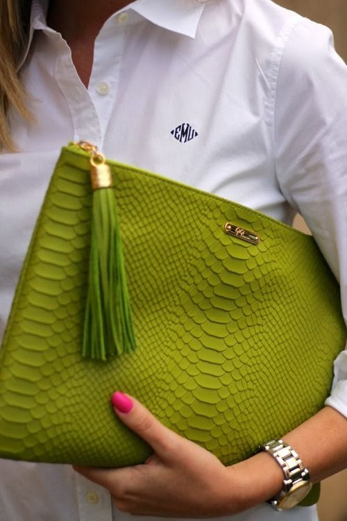 Chartreuse purse + bright nails add personality to your work wear. It's all in the details.
