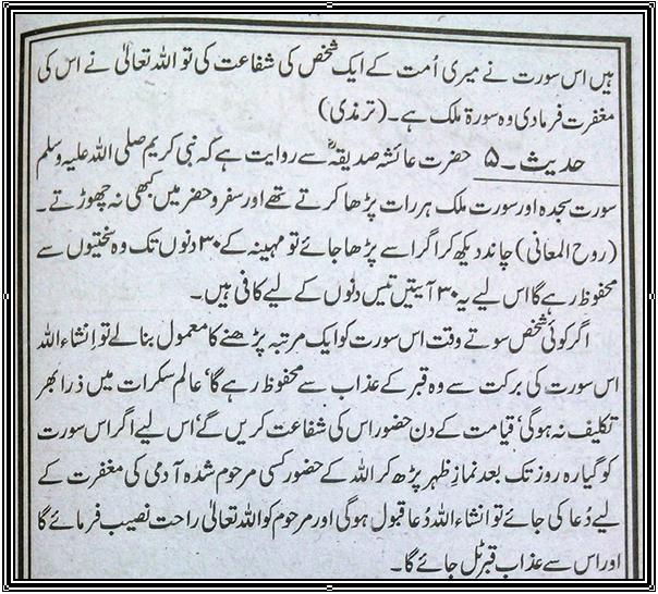 Islamic Hadith: Surah Mulk (Fazilat)
