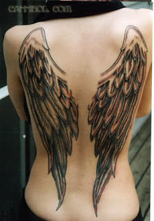 Black and Grey Ink back piece Angel Wings Tattoo