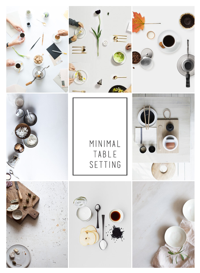 Moodboard with minimal table setting