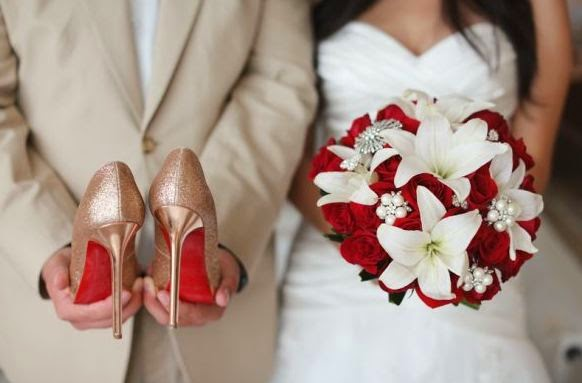 Wedding Bouquet Red Roses And White Lilies