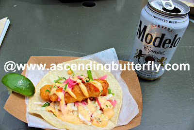Fish Taco and Modelo Especial Draft Beer from La Casa Azul Taco Truck feeds the hungry Press at the Media Preview Day at The New York Botanical Garden #FridaNYBG