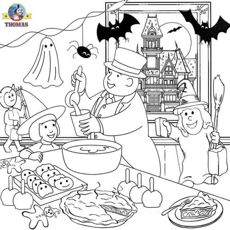 party printable Halloween ideas kids activities Thomas coloring sheets title=