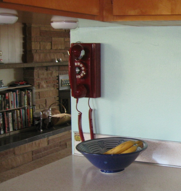 On The Other Side Of The Kitchen .. Check Out Our New Crosley Wall Phone.