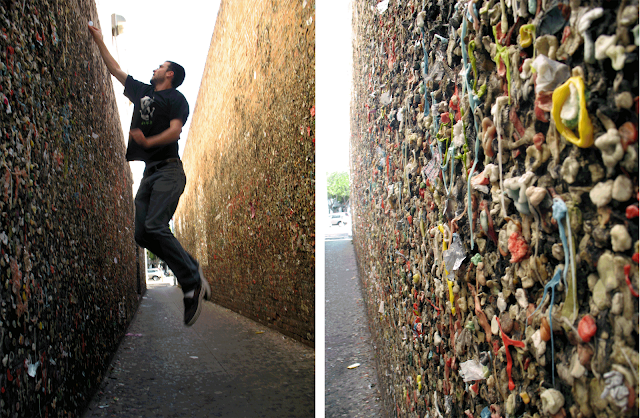 Sticking gum onto the gum wall in SLO