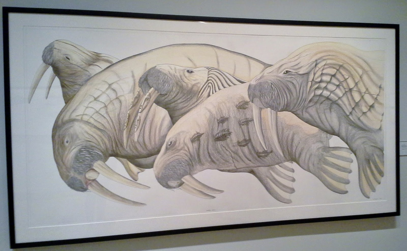 Magentic North Exhibit: Toronto Public Reference Library, Toronto,Art, Culture, Inuit,Trend, Melanie.Ps, The Purple Scarf, Migrating Walrus drawing, 2013 by Tim Pitsiulak