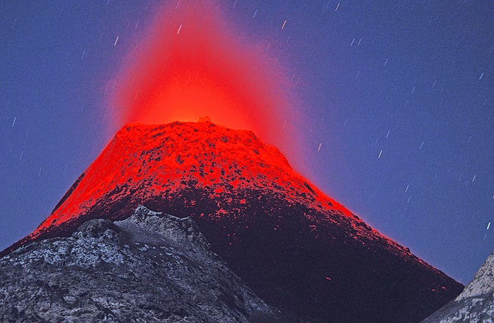 "A ""historic"" photo - an eruption from one of the hornitos (small spatter cones), now buried by the new ash cone growing since Sep 2007 in the active crater of Ol Doinyo Lengai volcano (northern Tanzania)."