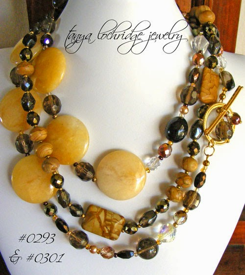 Yellow Jade & smoky Quartz Necklace